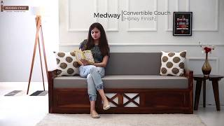 Sofa Come Bed: Buy Medway Convertible Couch in Honey Finish Online @ Wooden Street