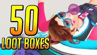 Unboxing 50 Summer Lootboxes!   Overwatch Summer Games 2018