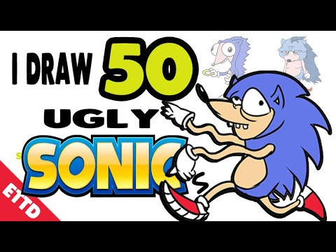 I Draw 50 Ugly Sonics 50sonicschallenge Easy Things To Draw Youtube