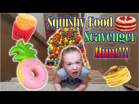 Ball Pit Stair Slide Squishy Toys Scavenger Hunt into Huge Box Fort!!!