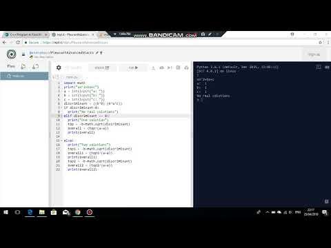Python Programming - Quadratic Equation Solver Part 2
