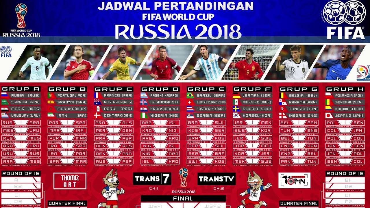 Jadwal Piala Dunia 2018 - YouTube