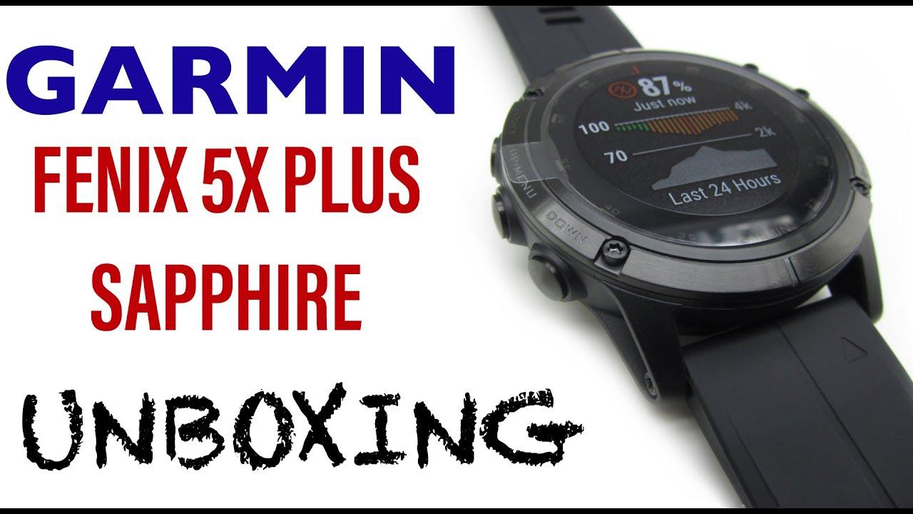 Garmin Fenix 5X Plus Sapphire Unboxing HD (010-01989-01) - YouTube