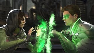 Injustice 2: Enchantress Vs Green Lantern Hal & John - All Intro/Outro, Clash Dialogues, Super Move