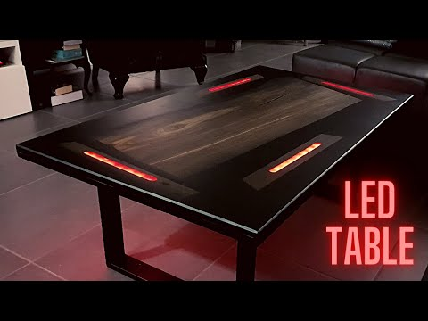 LED lit coffee table - Bok Oak Epoxy Resin - DIY