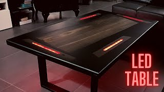 LED lit coffee table - Bok Oak Epoxy Resin