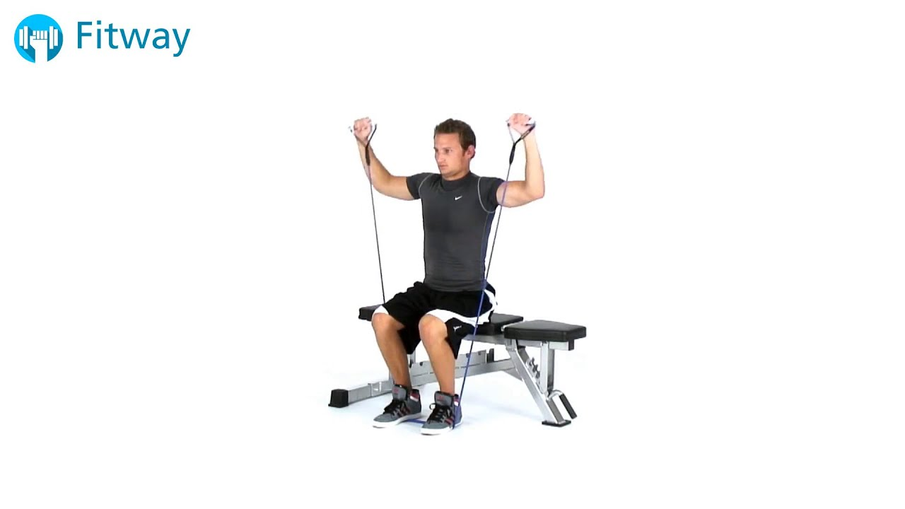 How to do resistance band shoulder press cuban seated shoulder how to do resistance band shoulder press cuban seated shoulder workout exercise publicscrutiny Gallery