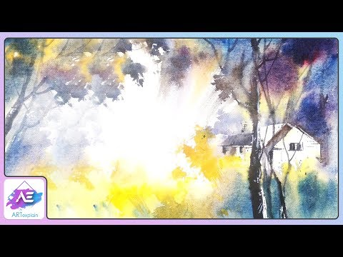 Sunny Watercolor Landscape Painting Tutorial | How to paint a watercolor landscape | Art Explain