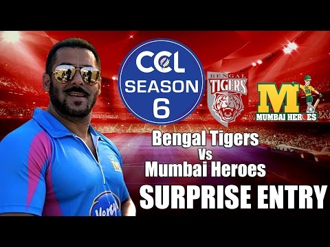 Salman Khan Makes Surprise Entry  - CCL6    Bengal Tigers Vs Mumbai Heroes