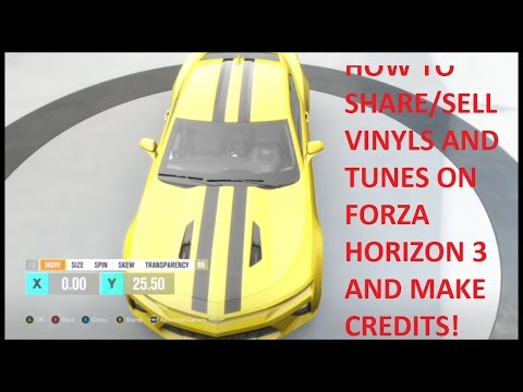 Forza Horizon 3 - HOW TO SHARE/SELL your Vinyl Designs and tunes to make TONS of credits - Tutorial