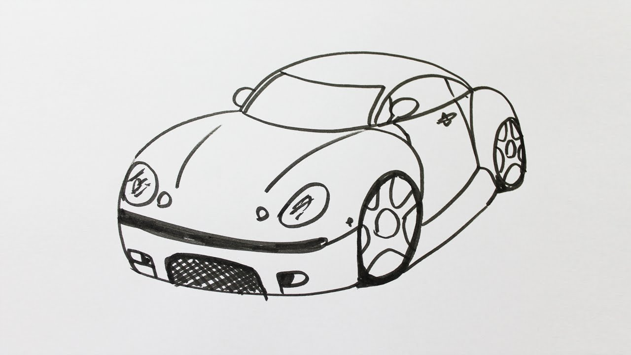 how to draw a sports car for kids youtube