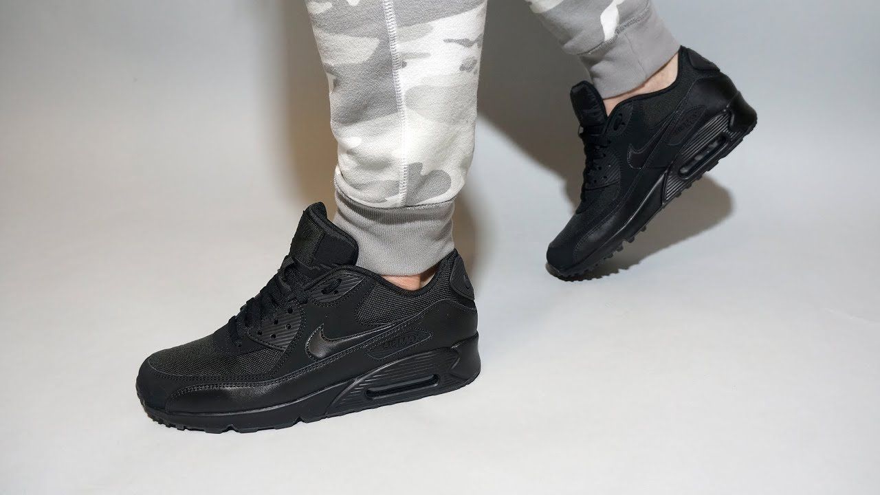 huge selection of 23508 b50e3 Nike Air Max 90 Essential All Black 537384-090 on feet