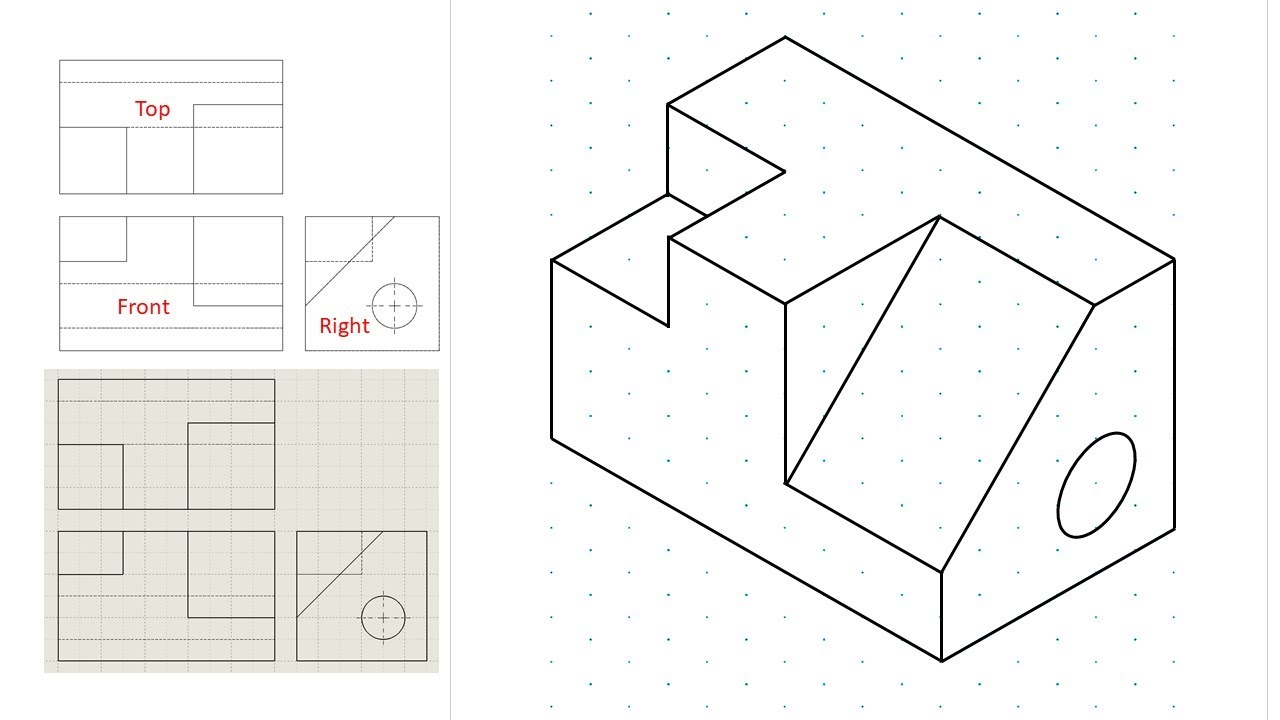 hight resolution of Isometric view drawing example 1 (easy). Links to practice files in  description - YouTube