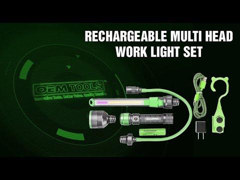 OEMTOOLS™ 24648 Rechargeable Multi Head Work Light Set