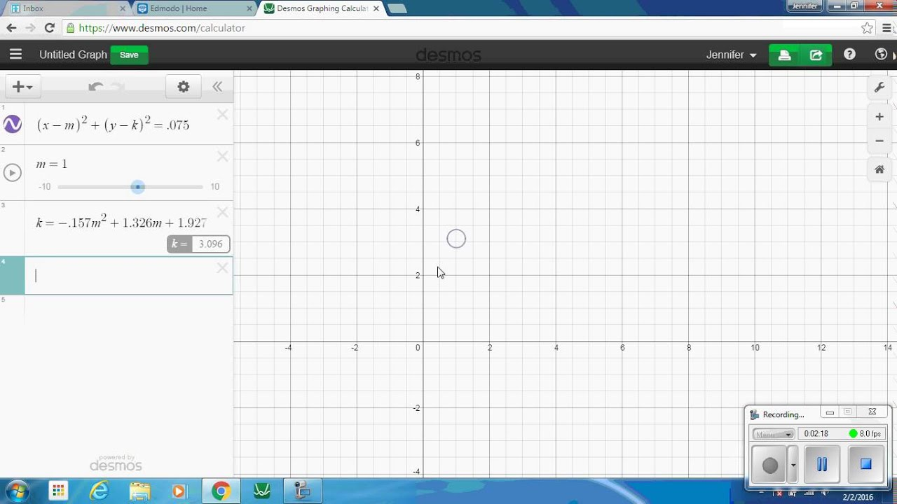 how to translate a circle on desmos