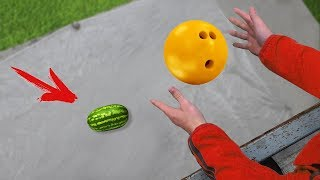Experiment: Bowling Ball Vs Watermelon