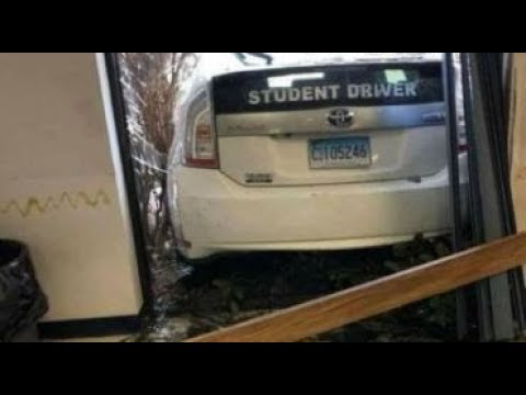 Video shows student driver crash through DMV window while taking test