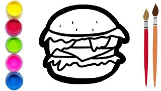 Coloring Hamburger and pried potato |Learn color Drawing art