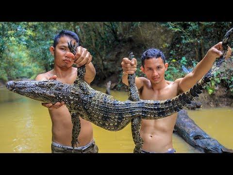 Wow! Amazing Two Brave Man Catch & Fried Spicy Crocodile Recipe