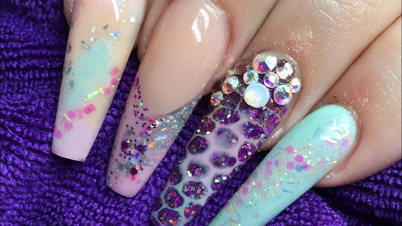 Acrylic Nails Netting Design Glam And Glits Youtube