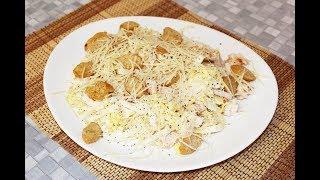 Салат из пекинской капусты с курицей и сухариками