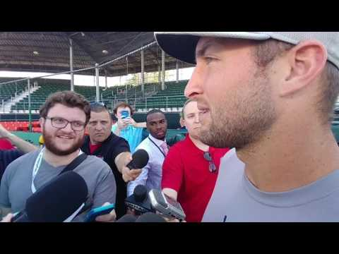 Tim Tebow full media baseball Interview, Talks about Daniel Murphy, football, passion