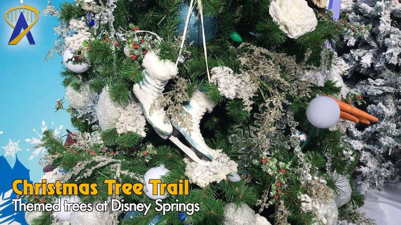 new disney themed christmas trees on display at disney springs