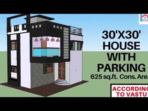 30' X 30' modern East facing  house with parking according to Vastu|| RK Survey & Design