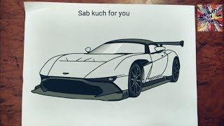 (#15)How to draw Race car 🏎   Aston Martin Vulcan   Step by step easily