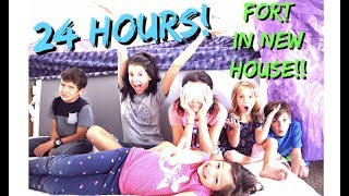 24 HOURS in MATTRESS FORT! in our NEW HOUSE! who snuck out?!!