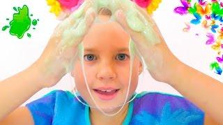 ЛИЗУН - Как сделать? Уроки Химии с Ксюшей и Алисой. Смешное видео для детей. Развивающие игры.