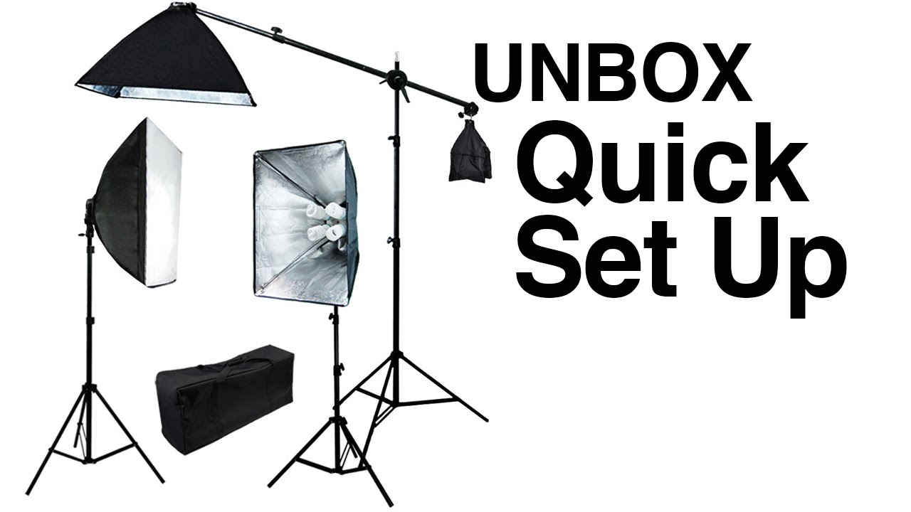pro 3 lights photo studio video continuous softbox lighting kit boom stand light unboxing