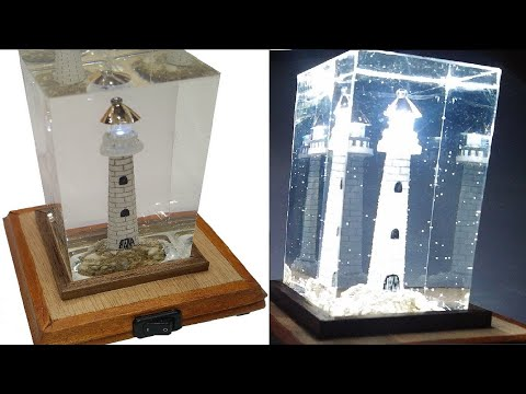 EPOXY RESIN WOOD L.E.D. LAMP- LIGHT HOUSE -DIY
