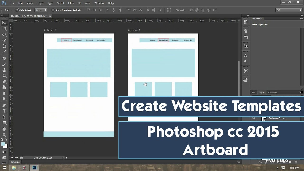 Create Web Template Design in Photoshop cc 2015 Art board YouTube