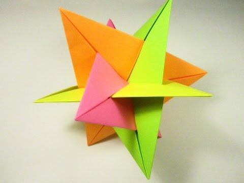Как сделать кусудаму звезда(воткнутые друг в друга треугольники)оригами