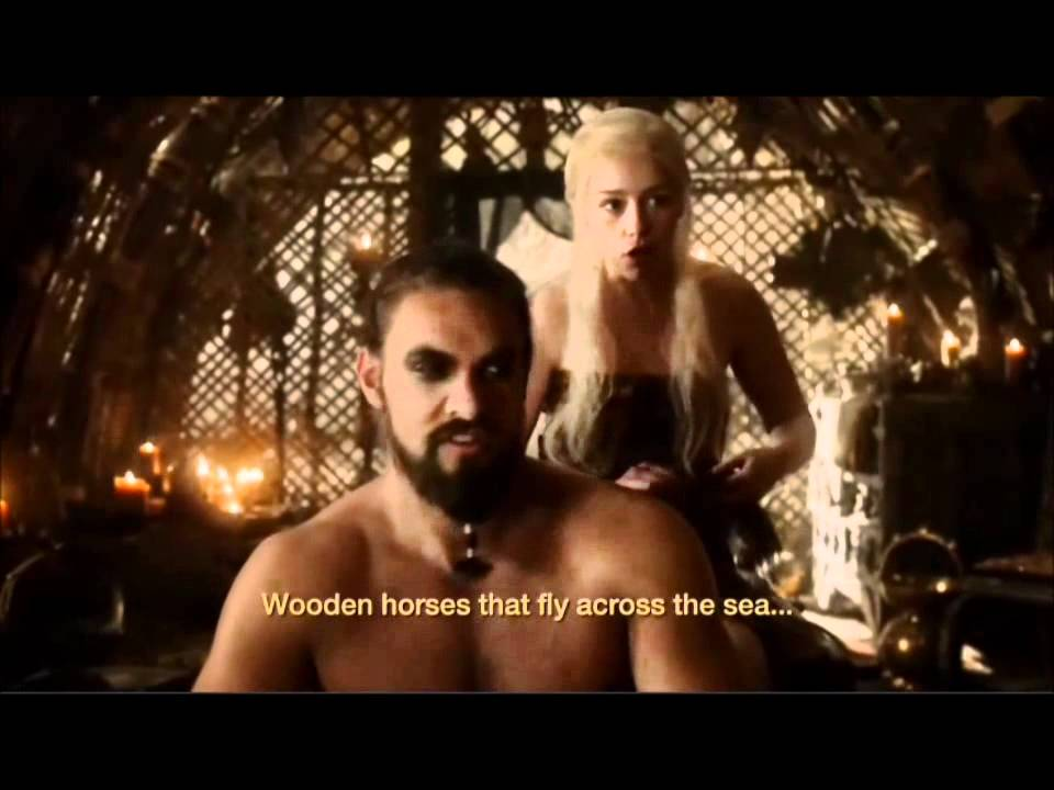 Khal Drogo and Daenerys Targaryen speaking Dothraki - Game of Thrones 1 7