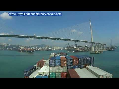 Container vessel entering the port of Hong Kong