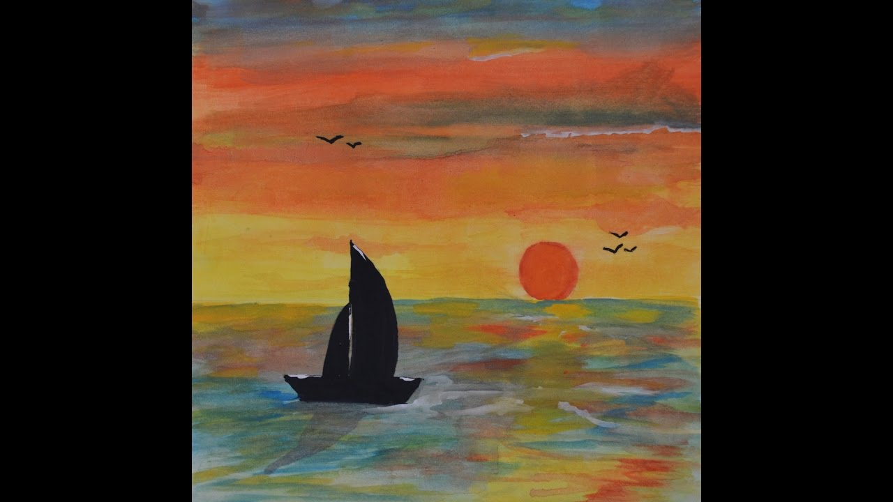 a simple painting of a sunrise with a boat poster colours painting a sky painting a boat youtube