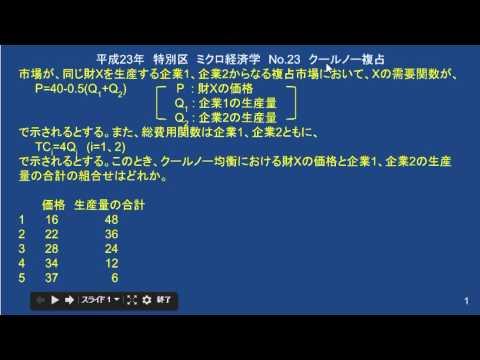 平成23年・特別区・ミクロ経済学...