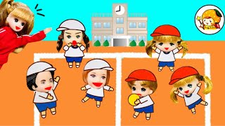 職場体験でドッジボール対決【後編】 小学校の先生やマクドナルド店員になりきり♪ thumbnail