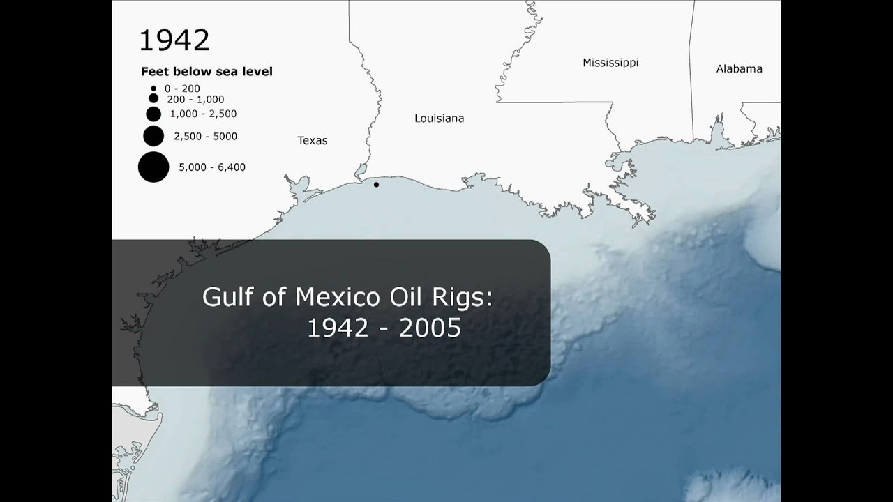 Oil Rigs In Gulf Of Mexico Map.Gulf Of Mexico Oil Rigs 1942 2005 Youtube