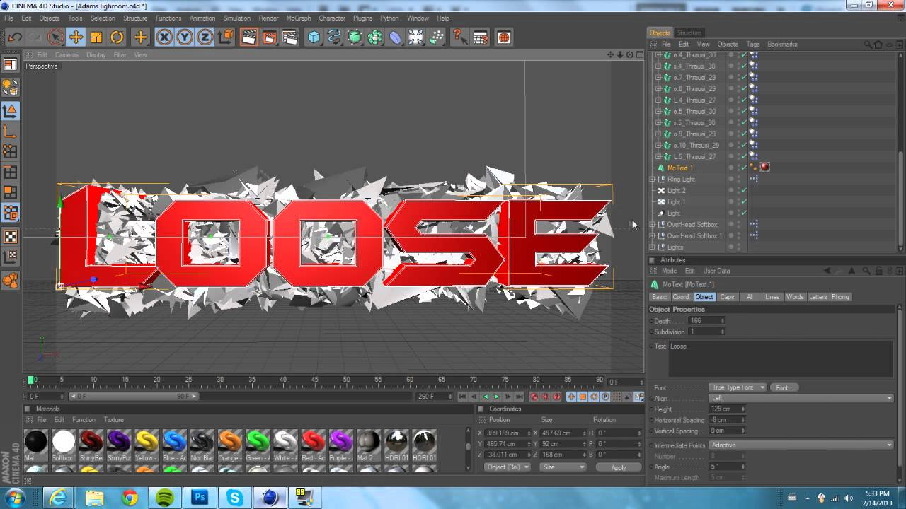 How to shatter text in cinema 4d using thrausi