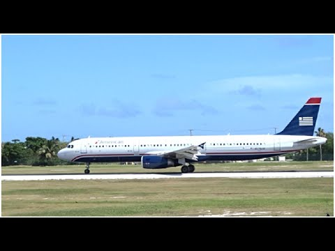 RARE American Airlines US Airways Heritage Livery Airbus A321 Departing Grand Cayman