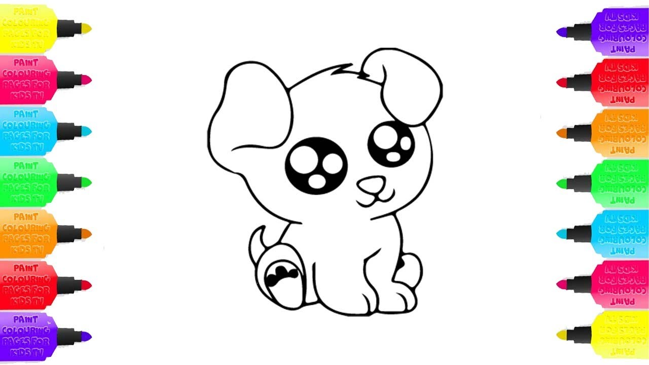 how to draw cute dog coloring page for childrens drawing and