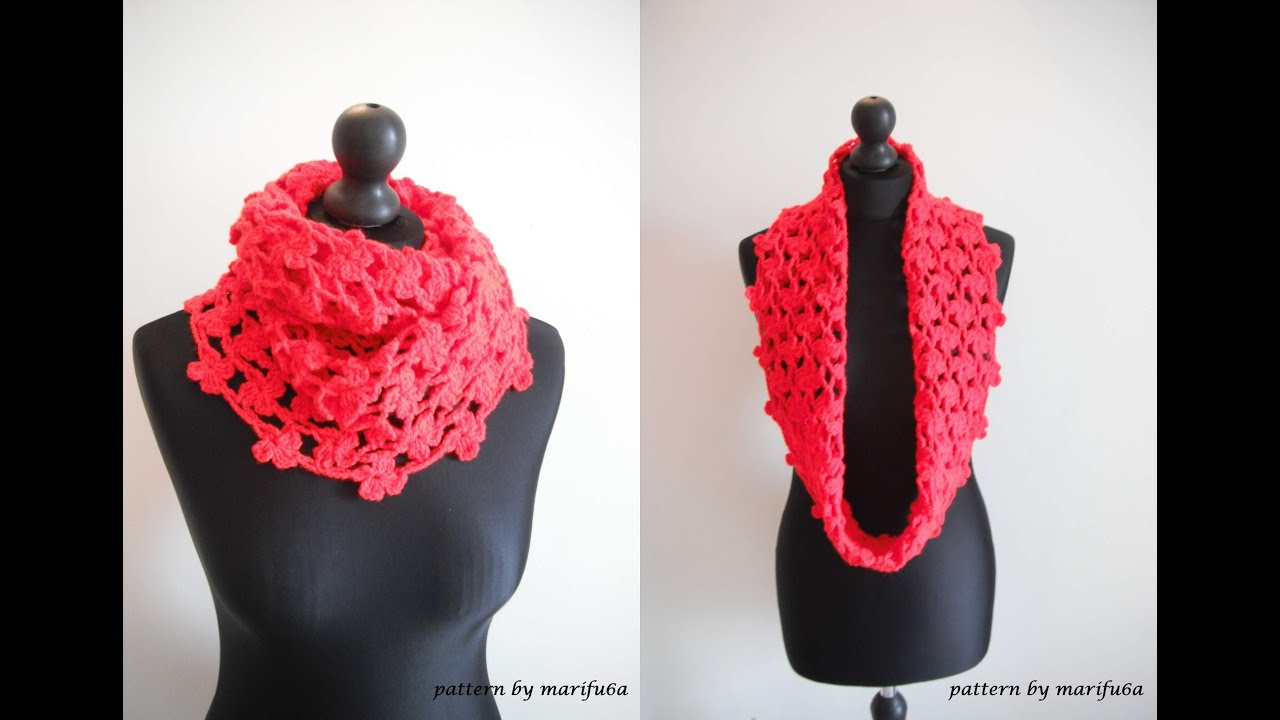 how to crochet flower cowl scarf for beginners free pattern tutorial ...