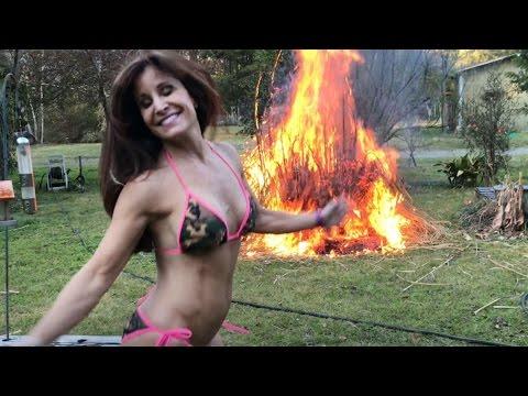 Burning the Pampas Grass!