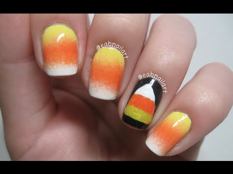 Candy Corn Nail Art Tutorial Youtube