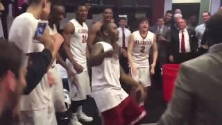 Avery Johnson & the Alabama locker room lit after beating Auburn