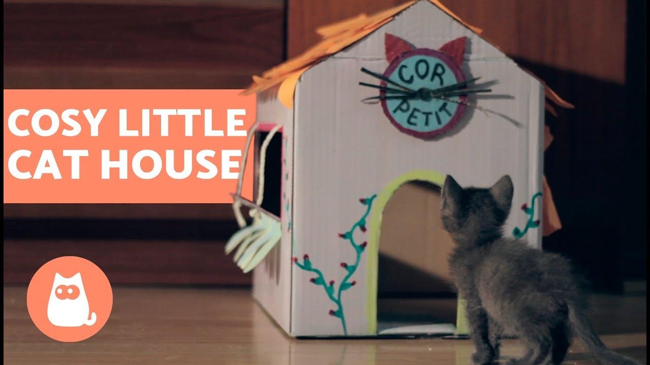 Diy Cardboard Cat House Easy Tutorial Youtube