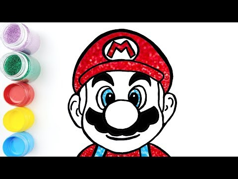 Super Mario Drawing Learn colors with Glitter for Kids | Jolly Art ♡